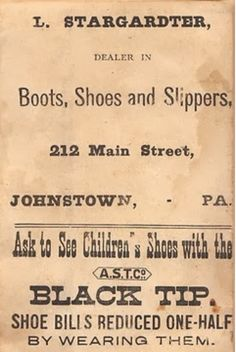 1880's Ad - Johnstown, Pa.