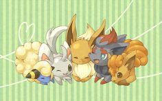 Mareep, Minccino, Eevee, Zorua, and Vulpix Pokemon Pins, Pokemon Images, Pokemon Pictures, Cute Pokemon, Pokemon Eeveelutions, Eevee Evolutions, Eevee Wallpaper, First 150 Pokemon, Pokemon Rouge