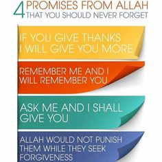 4 HUGE promises from Allah Almighty. He always keeps His promises.  #Allah #Alhamdulillah #subhanAllah #dhikr #Astaghfirullah #Islam