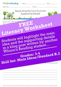 Students will highlight the main idea and the supporting details in a blog post written by another Whooo's Reading student, and then restate the main idea and supporting details in their own words. Grades: 3-4 Current Events Worksheet, Main Idea Worksheet, Social Studies Curriculum, Social Studies Worksheets, Main Idea Lessons, Text Structure Worksheets, Literacy Worksheets, Reading Themes, Reading Anchor Charts