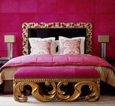 Beautiful Pink & Gold bedroom decor