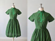 Vintage 1950s Dress / 50s Dress / Green by TheVintageMistress
