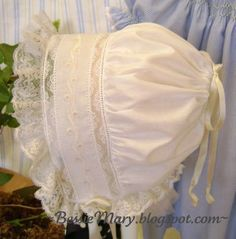 I saved the best for last! This is my most favorite bonnet pattern. It is the Little French Bonnet from the Old Fashioned Baby Bonnets patt...