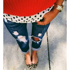 Distressed jeans with polka dot shirt, red sweater and leopard print pumps.