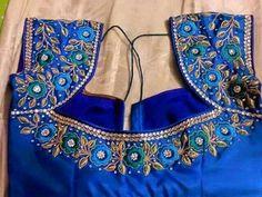 muggum work blouses for designer sarees Pattu Saree Blouse Designs, Blouse Designs Silk, Bridal Blouse Designs, Blouse Patterns, Dress Designs, Flower Designs, Simple Blouse Designs, Stylish Blouse Design, Home Design