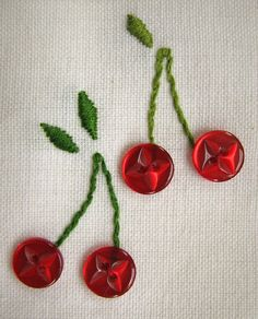 Embroidery and button cherries