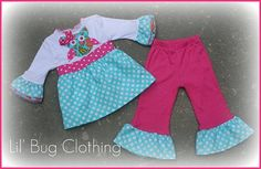 Custom Boutique Girl Teal Pink Dot Owl Top And Pant Outfit  | Lilbugclothing - Clothing on ArtFire