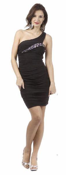 Sexy Black Class Reunion Dress Short 1 Shoulder Form Fit Rhinestone $78.99