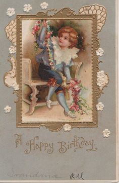 A Happy Birthday Victorian Boy with Flowers Inside Gold Picture Frame Raised   eBay