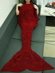 Christmas Design Knitting Sleeping Bag Fish Tail Blanket in Deep Red | Sammydress.com