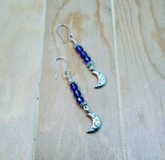 blue purple beaded czech glass silver moon earrings-wire wrapped moon earrings-dangle moon earrings-purple earrings-silver earrings