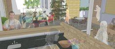 Cozinha coletiva em área comum é uma das diferenças da cohousing, que pretende ser um lugar que privilegia a comunidade ao mesmo tempo que mantém a privacidade de cada família Foto: Divulgação/ Guaxo Projetos Sustentáveis