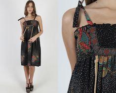 Vintage 70s Black Floral Smocked Dress / Empire Waist Polka Dot Country Dress / Shoulder Ties Sun Prairie Midi Mini Dress Sun Prairie, 1970s Dresses, Country Dresses, Vintage 70s, Polka Dot, Ties, Empire, Floral Prints, Shoulder