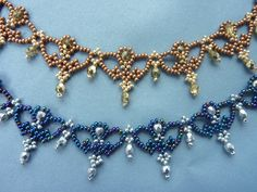 DIY Jewelry: FREE beading pattern for lovely beaded lace necklace composed of 11/0 seed beads and 4mm round crystals.