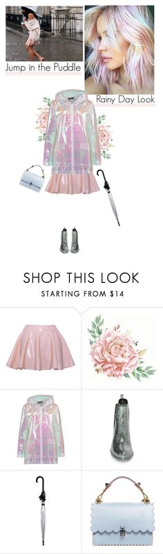 """""""Puddle Jumper: Rainy Day Outfit"""" by helena99 ❤ liked on Polyvore featuring Boohoo, Jeffrey Campbell, Fulton, Fendi, umbrella, rubberboots, rainwear and rainydayoutfit"""