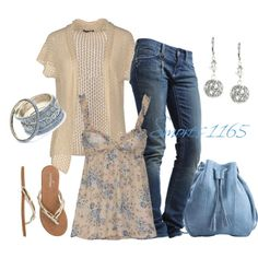 """""""Cream and Blue"""" by smores1165 on Polyvore"""