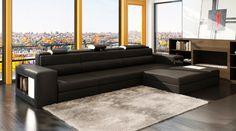 Divani Casa Polaris Mini - Contemporary Bonded Leather Sectional Sofa - VGEV5022B-BLK