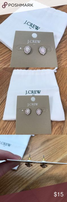 NWT J. Crew pink crystal and gold studs Very pretty and dainty gold studs with a pink-opal center stone surrounded by clear crystals. Brand new with dustbag from J. Crew Mercantile. J. Crew Jewelry Earrings