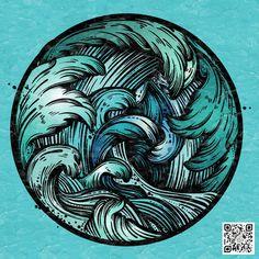 Illustrations, Illustration Art, Ocean Tattoos, Beautiful Dark Art, Psy Art, Hand Art, Skin Art, Art Sketchbook, Cartoon Art