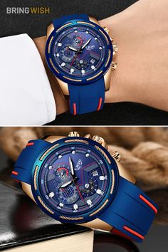 Cool Blue Chronograph Silicone Strap Men's Watch for SALE on BringWish. This multi-functional watch features luminous hands, chronograph and calendar. #bluewatches #fashionwatches #menswatches #militarywatches