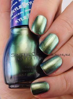 SinfulColors Kameleon Kylie Denim + Bling   Be Happy And Buy Polish https://behappyandbuypolish.com/2016/05/10/sinful-colors-kylie-duochrome-nail-polishes-kleopatra-kameleon-plus-comparison-to-konstellation/