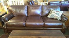Looks so comfy! Cow Hide, Made In America, Distressed Leather, Leather Sofa, Comfy, Throw Pillows, Rustic, Furniture, Beautiful