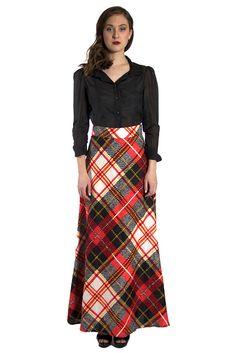 Red Plaid A-Line Maxi Skirt