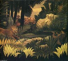 "artist-rousseau: ""The Lion Hunter, Henri Rousseau "" Henri Rousseau, a French Post-Impressionist painter in the Naive or Primitive manner. Hand Painting Art, Oil Painting On Canvas, Canvas Art, Wildlife Paintings, Landscape Paintings, Art Paintings, Henri Rousseau Paintings, Art Ancien, Post Impressionism"