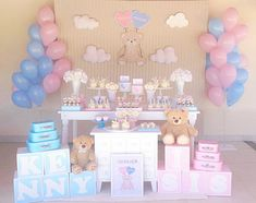 Gender Reveal Themes, Gender Reveal Party Decorations, Baby Gender Reveal Party, Baby Party, Baby Shower Parties, Baby Boy Shower, Baby Shower Diapers, Baby Girl Birthday Theme, Twin Birthday Parties