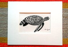 Sea Turtle Canvas Print of Original Black Pen and Ink by jargenink