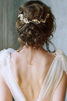 36 Romantic Rustic Wedding Hairstyles ❤️ rustic wedding hairstyles low loose updo with gold pin lauragordon via instagram ❤️ See more: http://www.weddingforward.com/rustic-wedding-hairstyles/ #weddingforward #wedding #bride #hairstyles #bridalhairstyle #rusticweddinghairstyles