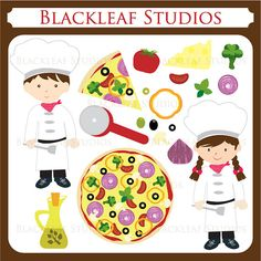 Pizza Party Italian Pizzeria Little Kid Chefs Clip Art - Personal and Commercial Use Instant Download