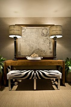 "Love the map, the lamps, and the zebra print bench (two stools?). Found on houzz. ""This detail was photographed by Professional Photographer Craig Denis for Hallock Design Group, Miami Florida."""