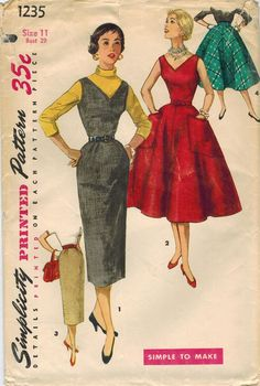 bb24e1984b3b4 1950s Simplicity 1235 Vintage Sewing Pattern Junior Misses Dress
