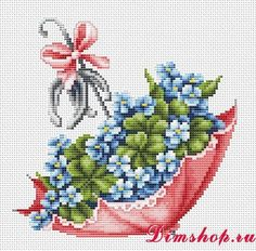 "Embroidery Luca-S Umbrella ""Oh I love this Happy St. Patty's to ya "" Beaded Cross Stitch, Modern Cross Stitch, Cross Stitch Flowers, Cross Stitch Charts, Cross Stitch Designs, Cross Stitch Embroidery, Embroidery Patterns, Hand Embroidery, Cross Stitch Patterns"