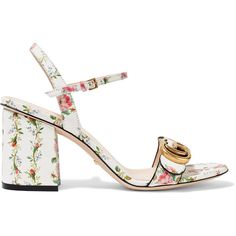 Gucci Floral-print leather sandals (39.115 RUB) ❤ liked on Polyvore featuring shoes, sandals, heels, gucci, high heels, strap heel sandals, heeled sandals, gucci sandals, floral sandals and strappy sandals