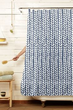 Knitted Stitch Blue White Shower Curtain by Emeline Tate of Project M for Threadless Artist Shop Guest Bathroom Remodel, Guest Bathrooms, Modern Bathroom, Bathroom Ideas, Shower Bathroom, Bathroom Updates, Bath Ideas, Bathroom Inspiration, Small Bathroom