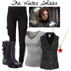 The winter soldier the winter soldier disney outfits cosplay Marvel Fashion, Nerd Fashion, Fandom Fashion, Fashion Women, Punk Fashion, Lolita Fashion, Fashion Boots, Winter Soldier, Marvel Inspired Outfits