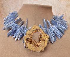 Natural Azul Cianita Collar Dorado Cristal Geoda Slice Druzy Colgante Lg Collar…