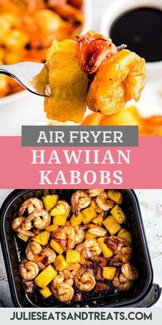 Quick and easy Air Fryer Hawaiian Shrimp can be made on a kabob stick or tossed in the basket. It's the perfect dinner recipe! Shrimp, ham and pineapple chunks that are coated in a sweet BBQ sauce and… More Hawaiian Chicken Kabobs, Shrimp Kabobs, Breaded Pork Chops, Air Fryer Oven Recipes, Honey Bbq, Health Dinner, Fast Easy Meals, Seafood Dishes, Food For Thought