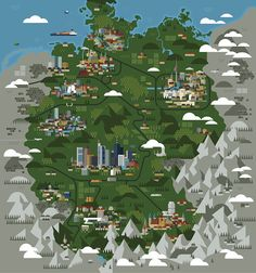 Germany map and icons for the Monocle Magazine in Map