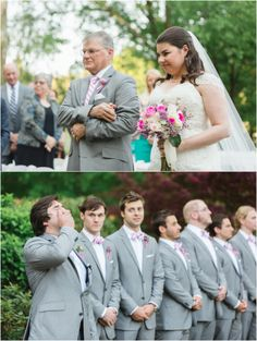 The groom's reaction is priceless - click to view more from this wedding at @Dara's Garden in Knoxville TN!