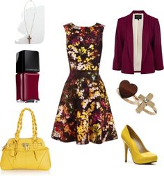 """""""Yellow and Magenta Church Outfit"""" by marissa-anne-weddle on Polyvore"""