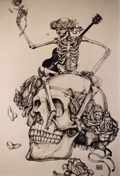 Grateful Dead merchandise: drawing by ? Lopez of a skeleton holding a rose and wearing a guitar, sitting on a skull with roses, that was part of a display at an unknown location Grateful Dead Tattoo, Grateful Dead Skull, Grateful Dead Image, Grateful Dead Poster, Rock Posters, Concert Posters, Retro Posters, Band Posters, Music Posters