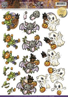 3D Knipvel - Yvonne Creations - Halloween - Cute Creatures Halloween Clipart, Halloween Art, 3d Templates, Image Stitching, Acorn Crafts, 3d Sheets, Cute Coloring Pages, Diy Scrapbook, Scrapbooking