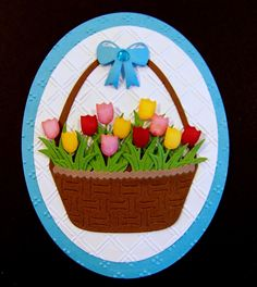 Ann Greenspan's Crafts: Basket of Tulips made using the Frantic Stamper Easter Icons and Easter Basket & Bow