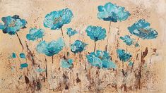 Easy Abstract Poppies Palette Knife Techniques Acrylic Painting Tutorial LIVE Step by Step Lesson Angela Anderson