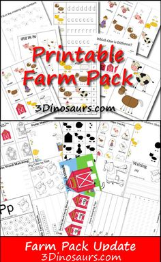 Free Farm Pack - Over 80 pages of activities for ages 2 to 8 - 3Dinosaurs.com