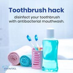 As we fight this global pandemic, it is extremely important to maintain good health and hygiene to prevent risk of infection. A pandemic like this requires extra care and precaution.  So here is a health hack for you - soak your toothbrush in an antibacterial mouthwash or hydrogen peroxide for 15 minutes to sanitize it. This will remove 99.9% of the bacteria on it! If you do become sick, remember to replace your brush.  #Stayhealthy #staysafe. Hydrogen Peroxide, Mouthwash, How To Stay Healthy, Health Tips, Dental, Sick, Teeth, Dentist Clinic, Tooth