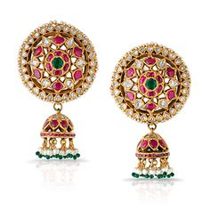 Zevar Emporium indian polki jewellery Uncut diamond with Semi Parsec Stone Indian Wedding Jewelry, Indian Jewelry, Gold Earrings Designs, Gold Designs, Jewellery Designs, Diamond Chandelier Earrings, Jewelry Patterns, Antique Jewelry, Jewels
